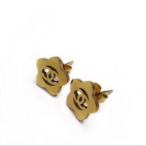 CHANEL CC Flower Stud Earrings